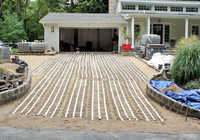 Driveway heating photos of heated driveways heated driveway with pavers being installed solutioingenieria Gallery